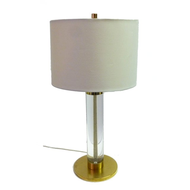 Frederick Cooper Lucite & Brass Table Lamp For Sale - Image 9 of 9