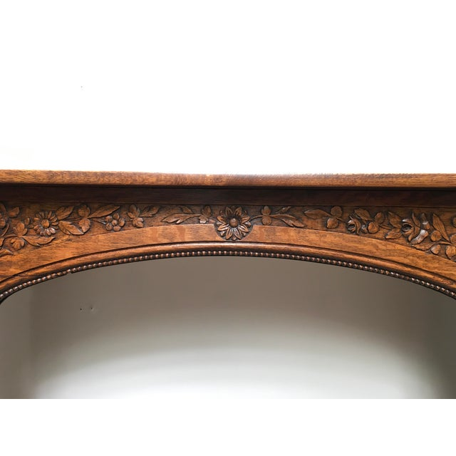 Brown Antique Hand Carved Oak Fireplace Mantle For Sale - Image 8 of 11