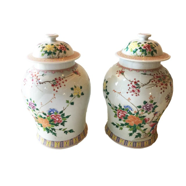 "Asian Porcelain Famille Rose Ginger Jars W/ Phoenix - a Pair 16.5""h For Sale - Image 3 of 5"