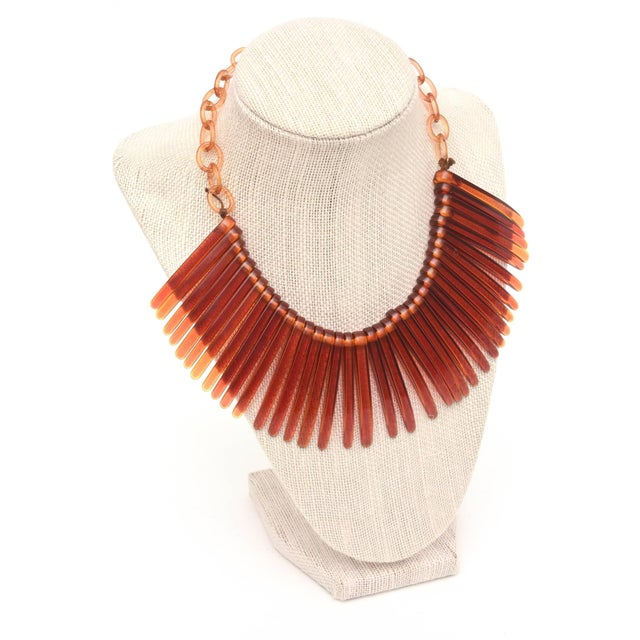 Vintage Tortoise Resin Fringe Collar Bib Necklace For Sale - Image 9 of 11
