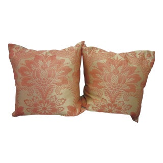 Clarence House Silk Coral Damask Large Pillows With Gray Chenille Backs - A Pair For Sale