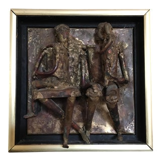 Artist Signed Brutalist Copper & Brass Family