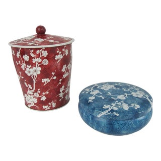 English Chinoiserie Design Tea Canisters - a Pair