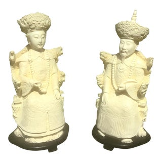 Chinoiserie Faux Ivory Asian Figures — a Pair For Sale