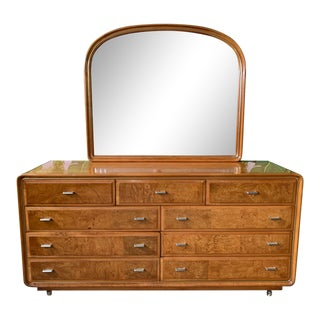 Art Deco Burl Wood Dresser and Mirror by American of Martinsville For Sale