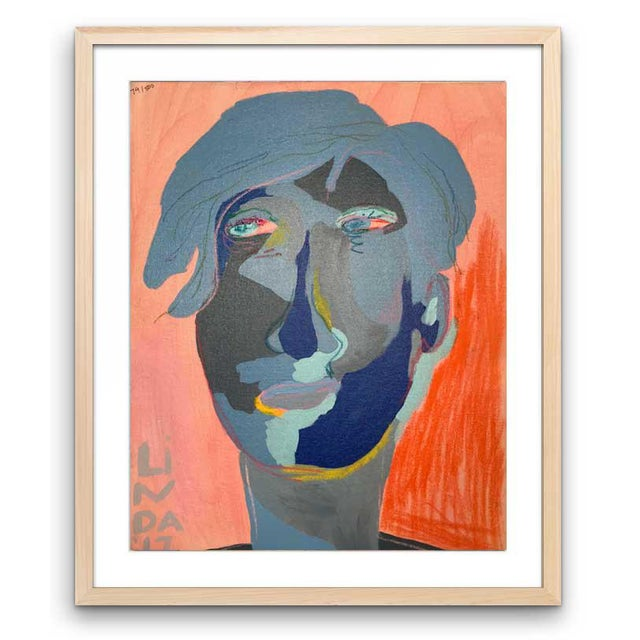 """Contemporary Abstract Portrait Painting """"Is He Ready to Go - No. 3"""" - Framed For Sale - Image 12 of 12"""