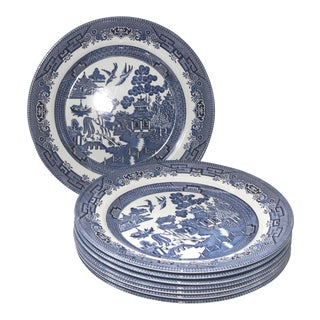 Blue Willow Churchill Transferware Dinner Plates - Set of 8