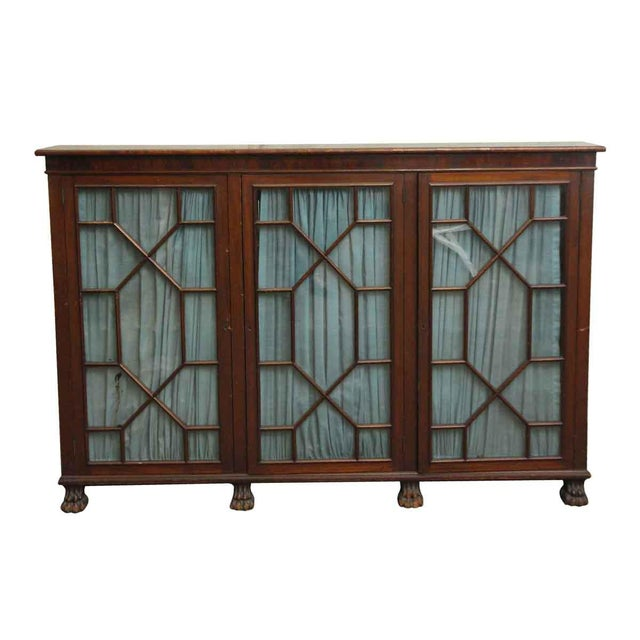 20th Century Traditional Mahogany Claw Foot Breakfront Bookcase With Glass Doors For Sale - Image 11 of 11