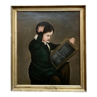 19th Century English School -The Math Lesson -Oil Painting- C.1840s