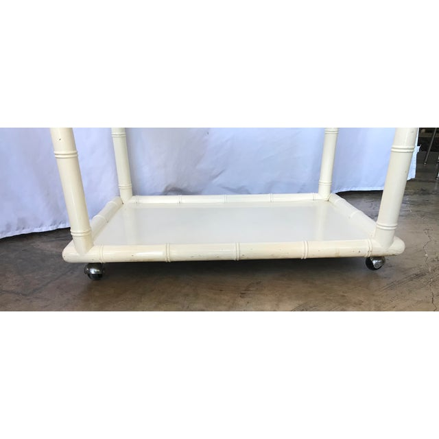 White 1980s Bamboo-Style White Lacquer Bar Cart/ Trolley For Sale - Image 8 of 10