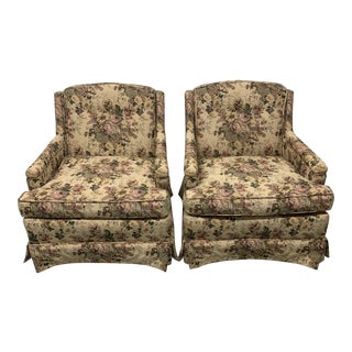Vintage Floral Club Chairs - a Pair For Sale