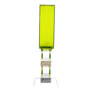 Shlomi Haziza Green Acrylic Table Lamp and Side Table For Sale