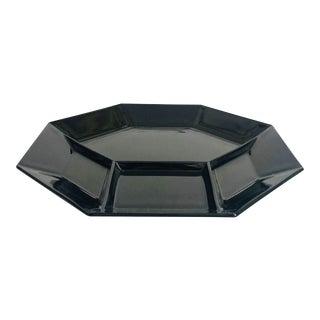 Vintage Black Octagon Divided Serving Plate For Sale