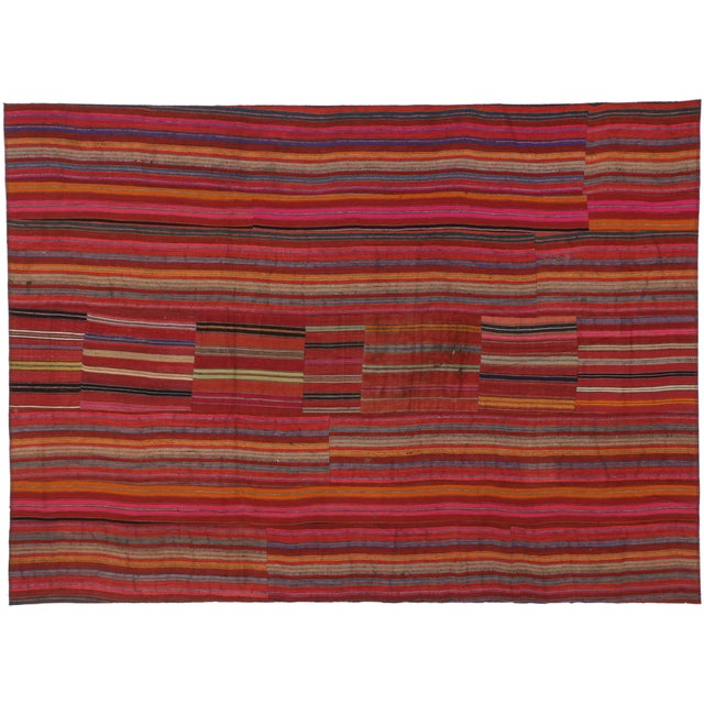 Modern Style Vintage Turkish Jajim Kilim Flat-Weave Rug With Colorful Stripes - 5′5″ × 7′6″ For Sale - Image 4 of 6