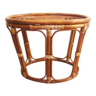 Vintage Oval Rattan Side Table or Stool For Sale