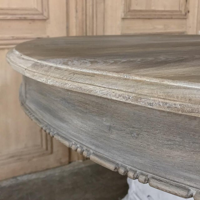 Wood 19th Century French Louis XVI Painted Pedestal Table For Sale - Image 7 of 13