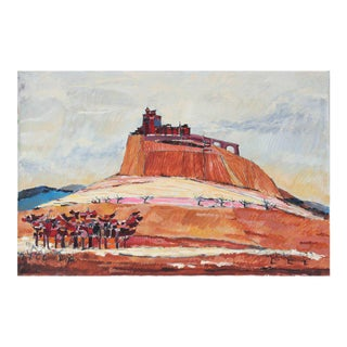 Rip Matteson Italian Hillside Landscape in Red and Orange Oil Painting, 1971 For Sale