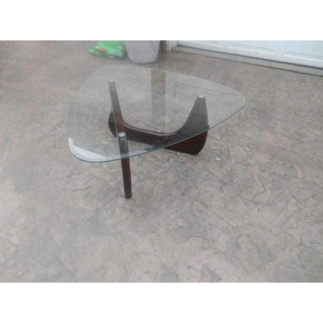 Danish Modern Isamu Noguchi Style Mid-Century Danish Modern Walnut & Glass Coffee Table For Sale - Image 3 of 10