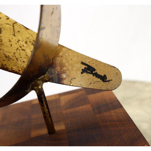 """Mid-Century Modern abstract tabletop sculpture by William Bowie. The solid block base square is 4x4""""."""