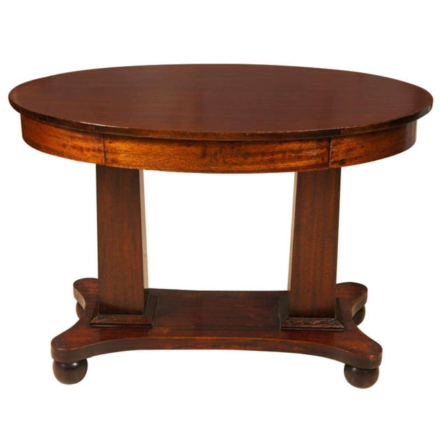 Empire Mahogany Pillar and Scroll Table With One Drawer For Sale - Image 9 of 9