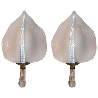 Pair of Murano Glass Leaf Form Wall Sconces For Sale