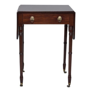English Mahogany Pembroke Table With Original Brass Casters For Sale