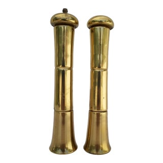 1960s Vintage Italian Brass Salt and Pepper Shakers- a Pair For Sale
