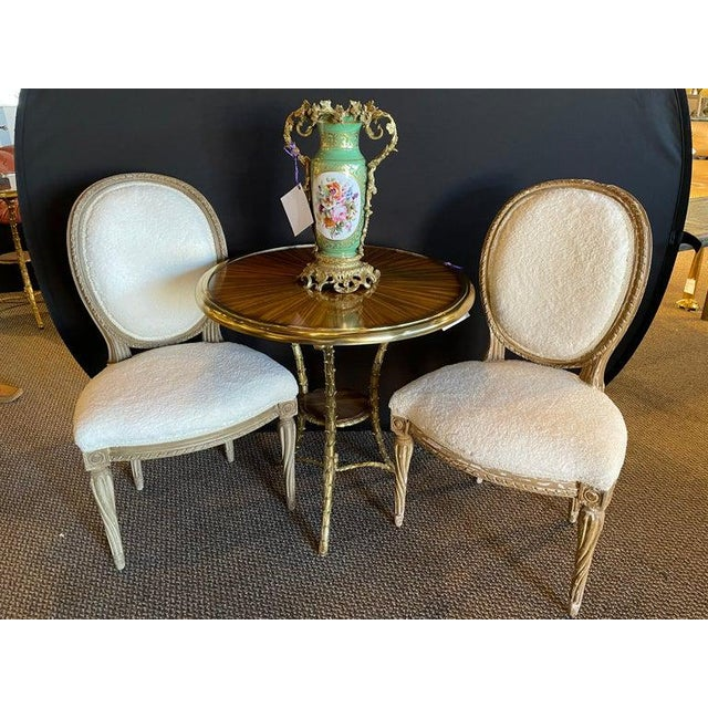 Hollywood Regency Pair of Jansen Distressed Sherpa Upholstered Side Chairs For Sale - Image 3 of 10