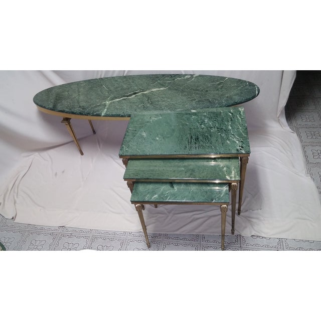 French French Brass/Bronze Marble Top Nesting Tables- S/3 For Sale - Image 3 of 9
