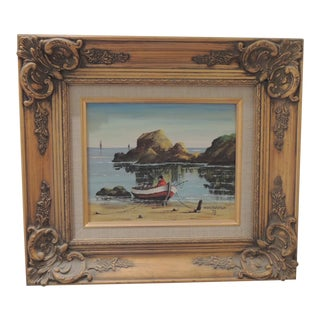 Vintage Mid-Century Montanola California Seascape Scene Gold Framed Oil Painting For Sale