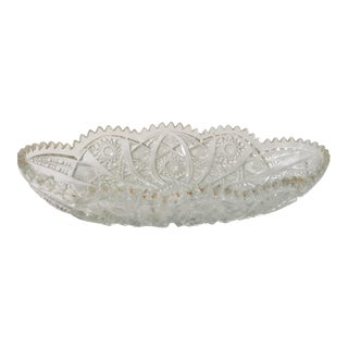 Vintage Mid Century Cut Glass Oval Candy Dish