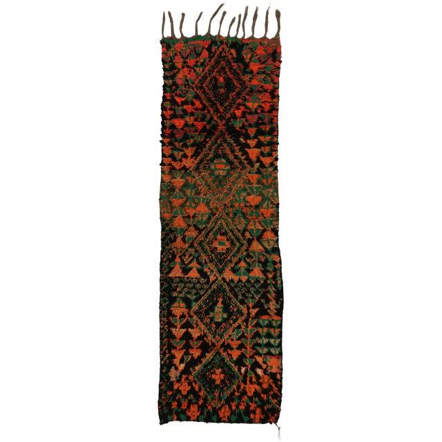 Vintage Moroccan Mid-Century Modern Tribal Style Berber Runner Rug - 2′7″ × 8′3″ For Sale