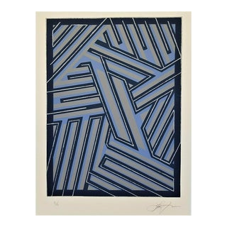 """1990's Mid-Century Modern Signed Lance Lawlor """" Linear Pattern """" Ltd Ed Lithograph Geometric For Sale"""