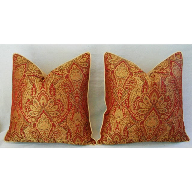 Custom French Jacquard & Velvet Pillows - A Pair - Image 3 of 10