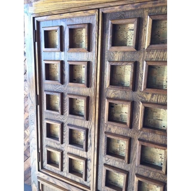 Vintage Wood and Cork Brutalist Armoire - Image 9 of 9