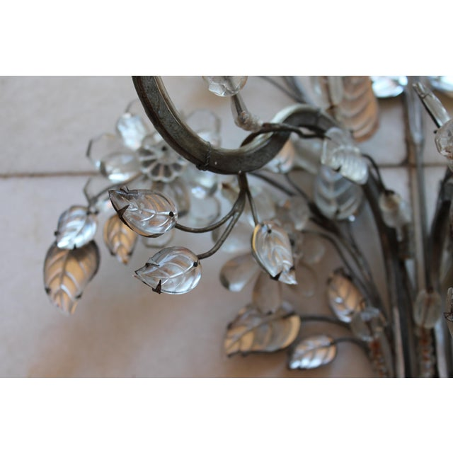 C1845 Maison Bagues Museum Quality Huge Crystal Floral Sconces/ Wall Lamps-Signed in Bronze - a Pair For Sale - Image 10 of 12