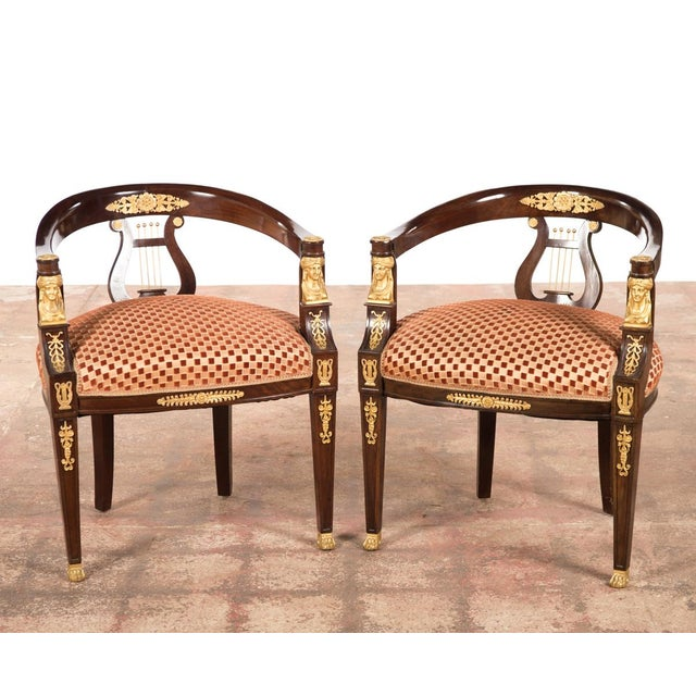 19th C. Bronze Mounted Lyre Back Armchairs - 4 - Image 3 of 10