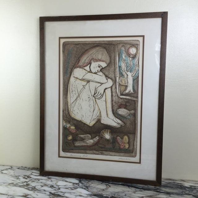 """Mid-Century Lithograph """"Dreaming Girl"""" by Irving Amen - Image 6 of 6"""