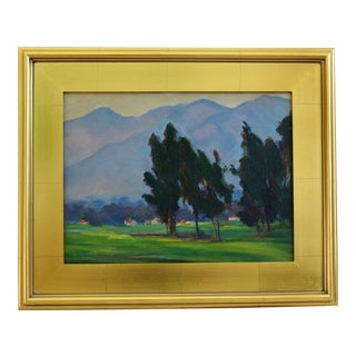 1930s California Plein Air Landscape Oil Painting W/ Gold Leaf Frame