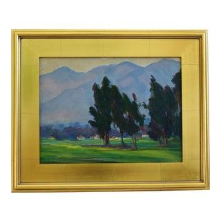1930s California Plein Air Landscape Oil Painting W/ Gold Leaf Frame