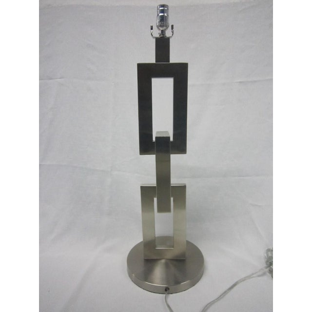Modern Brushed Chrome Link Table Lamp - Image 5 of 5