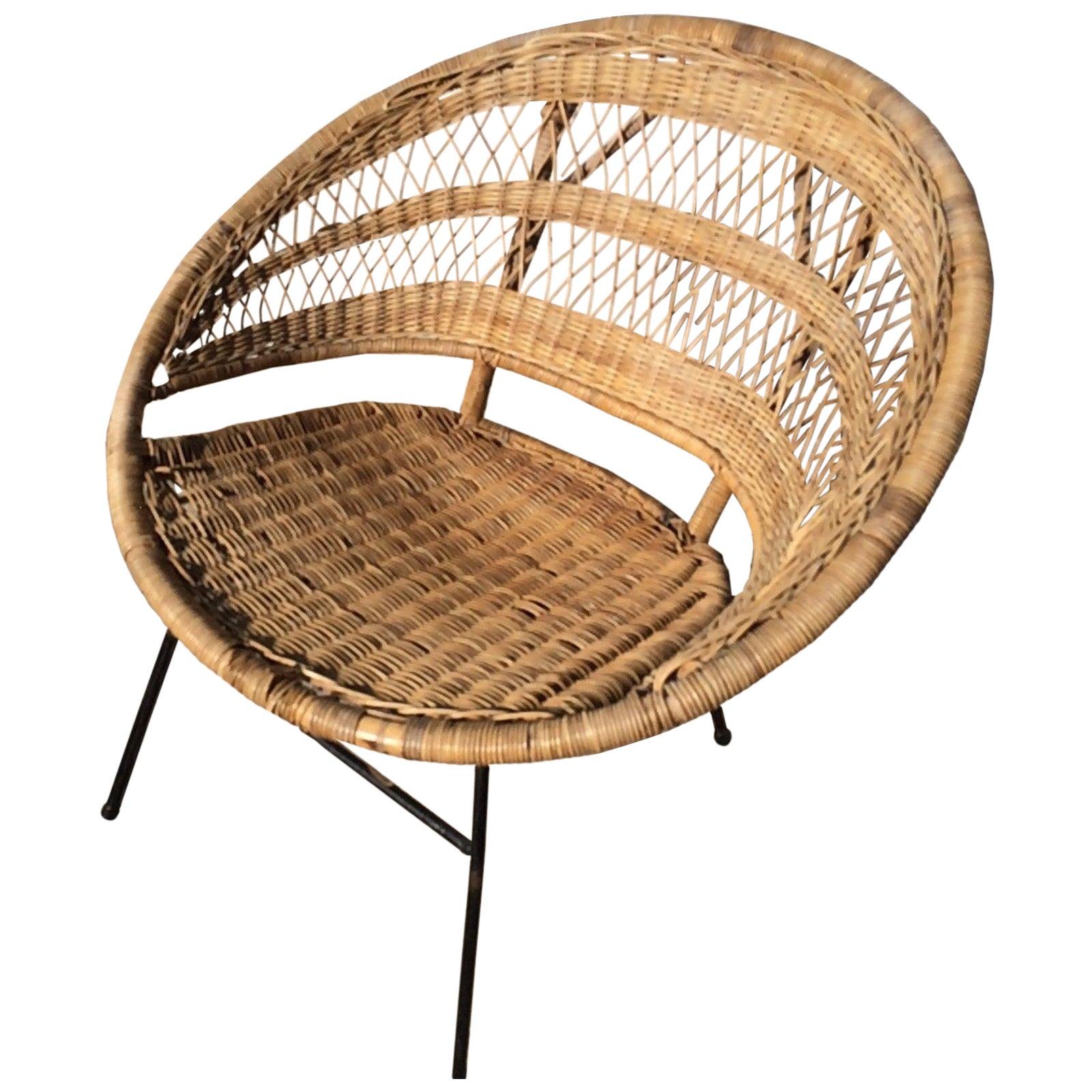 Mid-Century Modern Rattan Scoop Chair | Chairish