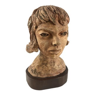 Mid Century Ceramic Bust Woman With Bob on Wood Base Signed Evelyn For Sale