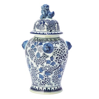 Chinoiserie Blue and White Foo Dog Temple Jar Vase For Sale