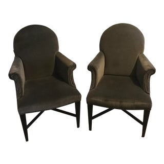 Modern Gray Armchairs With Brass Nailheads - a Pair