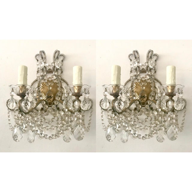 Crystal Italian Crystal Beaded Sconces - A Pair For Sale - Image 7 of 7
