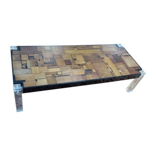 Bijan Bahar Mid-Century Lucite & Wood Coffee Table For Sale