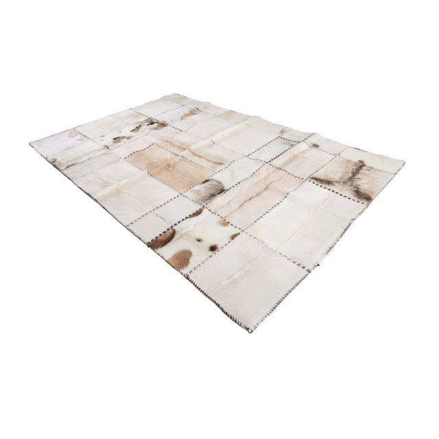 """Hand Stitched Goatskin Patchwork Area Rug - 5'1"""" x 8'1"""" - Image 2 of 9"""