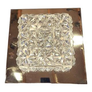 1960s Kinkeldey German Crystal Chrome Ceiling Mount For Sale