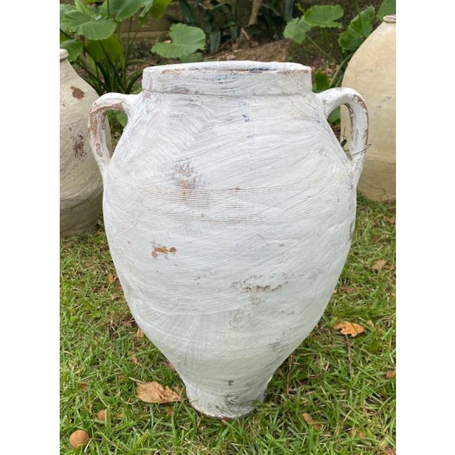 Antique Terra Cotta Olive Jar Whitewashed With Handles For Sale - Image 10 of 12